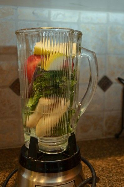 Healthy fruit and vegetable smoothie.  Great way to start the day AND good for you!!