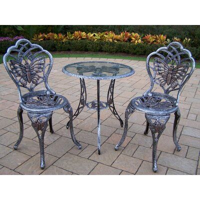August Grove Wensley 3 Piece Bistro Set Color Antique Pewter In