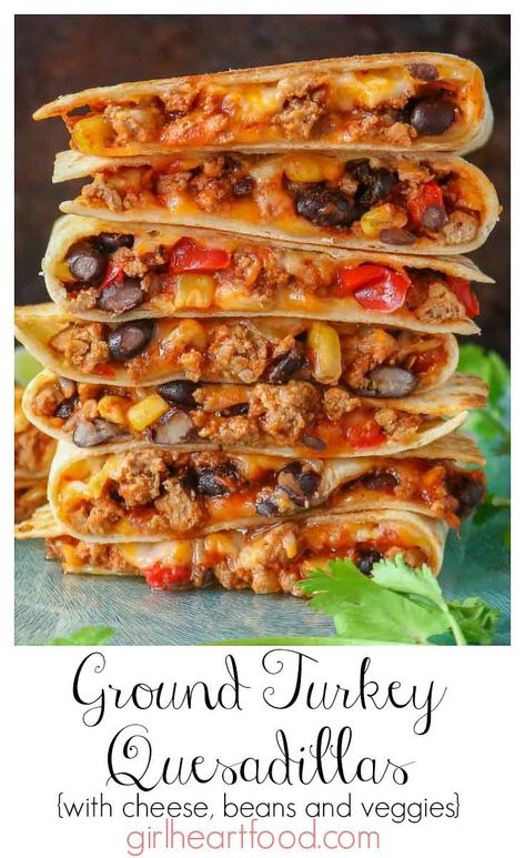 These ground turkey quesadillas are jam packed with cheese, turkey, black beans, corn and bell pepper. So easy to prepare and so delicious! Enjoy with your salsa, sour cream or guacamole for one satisfying meal! Healthy Turkey Recipes, Healthy Ground Turkey, Mexican Food Recipes, Chicken Recipes, Healthy Quesadilla Recipes, Recipes For Ground Turkey, Recipes With Ground Turkey, Ground Turkey Dinners, Ground Turkey Meal Prep
