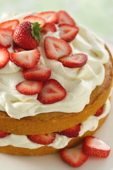 Perfect cake to make with fresh strawberries.