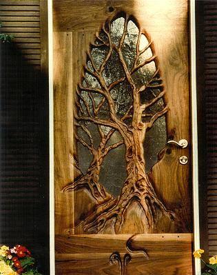 carved tree door