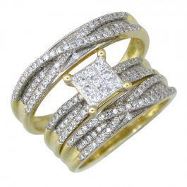 10k Solid Yellow Gold Diamond Wedding Ring Band Set 0 76 Ctw Diamond Wedding Rings Trio Wedding Sets Wedding Rings
