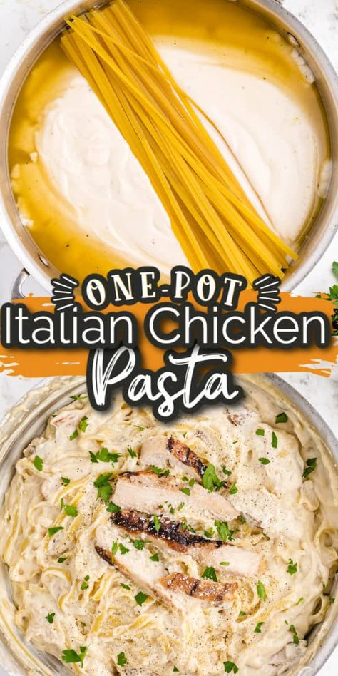 Our Italian Chicken Pasta is an easy one-pot meal that's perfect for dinner any night! Fettuccini pasta mixed with creamy Alfredo sauce and tender chicken and ready in under 30 minutes! With just 5 minutes prep and 20 minutes cook time, this delicious, creamy dish practically cooks itself!