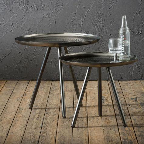 industrielles en de acier tables basses rondes Ensemble XuTOPZki