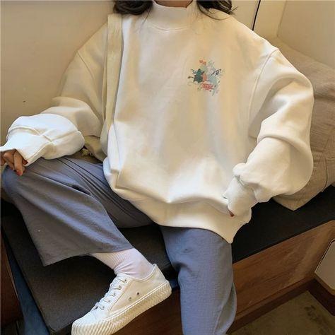 Ulzzang ladies oversized casual hoodie student Kawaii printed turtleneck pullover sweater
