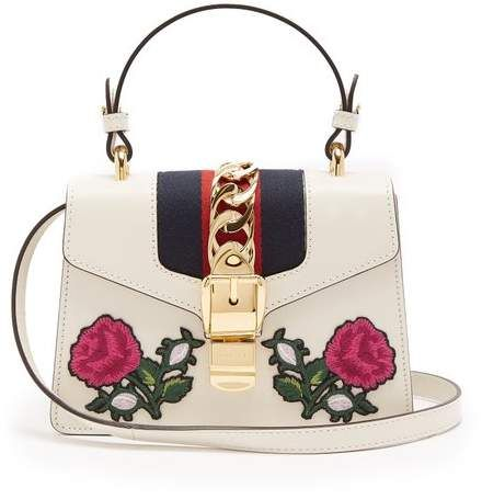 4f8ef30172cb Gucci - Sylvie Mini Embroidered Leather Shoulder Bag - Womens - White Multi