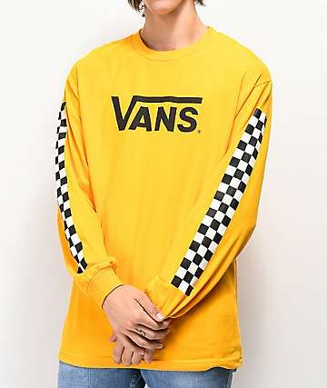 c040133b Vans Classic Checkered Gold Long Sleeve T-Shirt | my style in 2019 ...