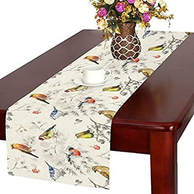 Amazon Com Interestprint Vintage Little Bird On Tree Branch Polyester Table Runner 16 X 72 Inches Waterco In 2020 Dining Table Runners Custom Table Table Decorations