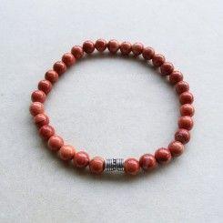 molto carino 8c85d 2a93a Bracciale elastico da uomo in diaspro rosso e argento ...