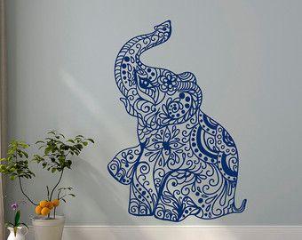 Olifant muur Decal Stickers - olifant Yoga muur stickers Indie Wall Art slaapkamer Dorm kwekerij Boho Boheemse Decor interieur C080 beddengoed