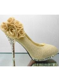 Bruids schoenen, bruidsmeisje schoenen, trouwschoenen, trouwjurk goud hakken