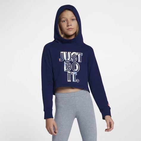 56be949f67 Nike Sportswear Big Kids' (Girls') JDI Cropped Hoodie Size M (Blue Void)