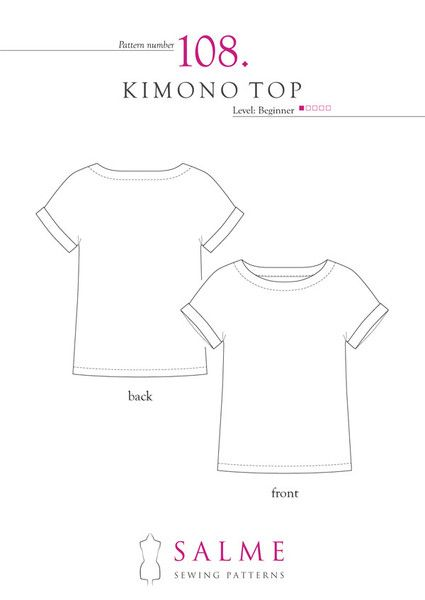 Beginners\' sewing pattern for kimono top. Includes illustrated ...