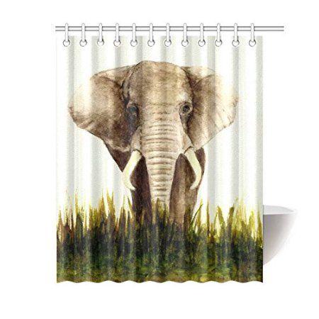 Mypop Animal Home Bath Decor Indian Elephant Polyester Fabric