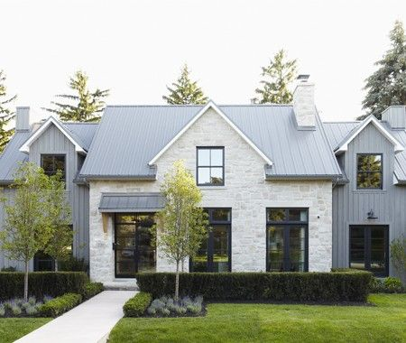 Great Farmhouse Limestone Tin Roof Black Windows I Love Just About Everything This House New That Looks Like Its Been There Forev