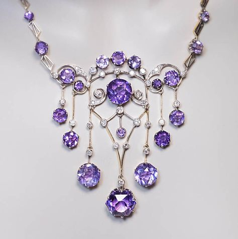 Exceptional Vintage Russian Amethyst Diamond Necklace, Moscow, 1930s. The necklace is handcrafted in gilded silver and set with sparkling light lavender purple Siberian amethysts and diamonds.