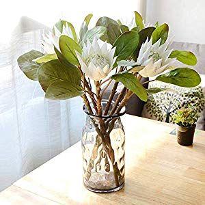 Mzwodmu 1pc King Protea Artificial Flower Fake Plant Diy Wedding Bouquet Party Decor Beige Silk Flower Arrangements Artificial Flowers Decor Fake Plants Decor Fake Flowers