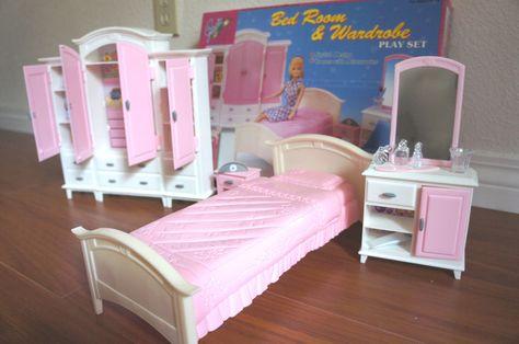 gloria furniture bedroom wardrobe mirror play set doll house rh pinterest com barbie bedroom set toy barbie bedroom set uk