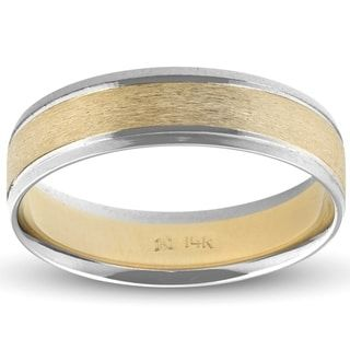 Pompeii3 14k White Yellow Gold Mens Two Tone Brushed Band 6mm