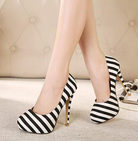 252fbe716ad4 Sexy High-Heeled Shoes With Navy Stripes Ultra- Thin High-Heeled Shoes With  Waterproof on Luulla