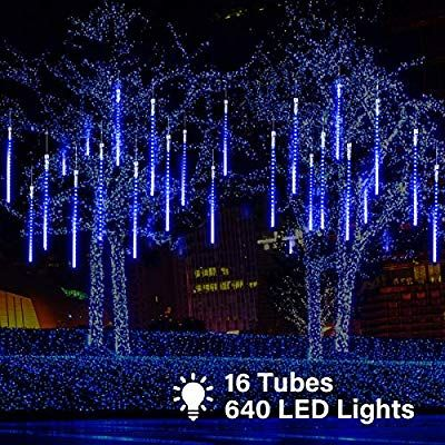 Amazon Com Maoyue Meteor Shower Lights 16 Tubes 640 Led Icicle Lights Outdoor Christmas Blue Christmas Lights Icicle Lights Outdoor Indoor Christmas Lights