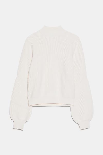 Zara Female Mock Neck Sweater Ecru S