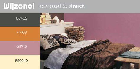 Contrastrijke kleuren en materialen geven deze slaapkamer een exotische dramatische sfeer.