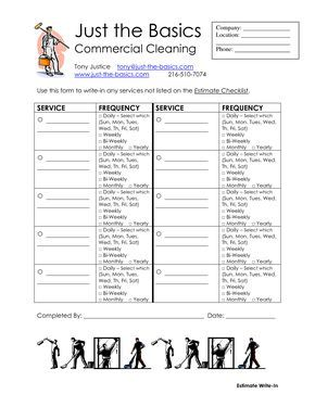 Commercial Cleaning Checklist Printable Commercial Cleaning
