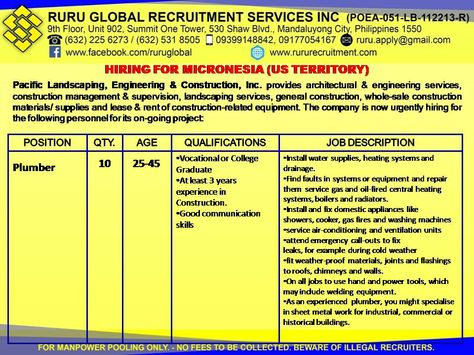 Micronesia Hiring for Electrician and other Construction Workers - construction worker job description
