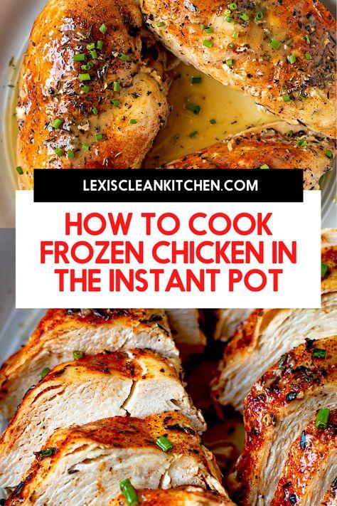 Chicken Breast Instant Pot Recipes, Frozen Chicken Recipes, Instant Pot Dinner Recipes, Frozen Chicken In Crockpot, Instant Pot Pressure Cooker, Pressure Cooker Recipes, Slow Cooker, Healthy Recipes, Kid Recipes