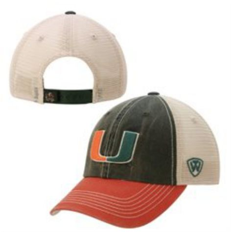 d2d959229fb7c Miami Hurricanes Top of the World Green Orange Offroad Adj Snapback Hat Cap