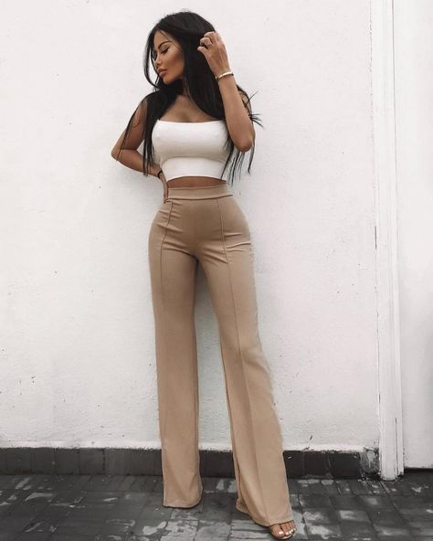 Fashion Nova Victoria High Waisted Dress Pants Taupe Size XS KK 11 for sale online Classy Outfits, Stylish Outfits, Beautiful Outfits, Classy Clothes, Mode Outfits, Fashion Outfits, Fashion Trends, Dress Fashion, High Waisted Dress Pants