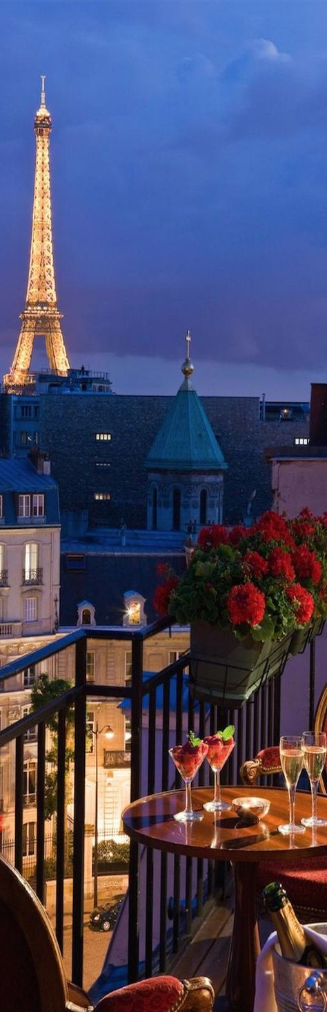 Eiffel View from the Balcony at the San Regis Hotel in Paris