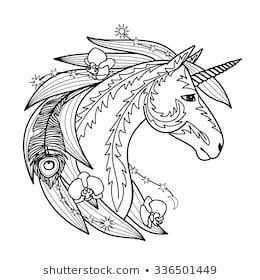 Ornamental Unicorn Illustration For Textile Prints Tattoo Signs Web And Graphic Design Unicorns Vector Vector Art Illustration Unicorn Art