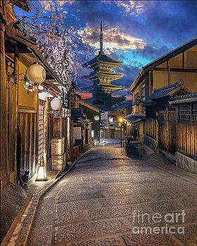 yasaka pagoda kyoto by karen jorstad japan sunrise sunset travel art