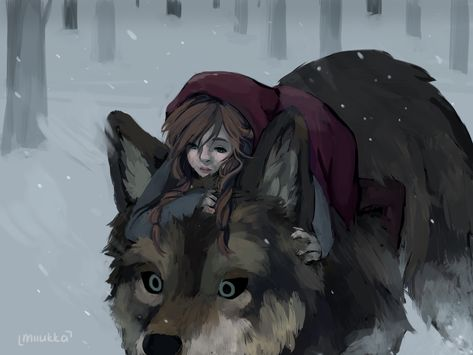 Red Riding Hood and the Big Bad Wolf by Miiukka Anime Wolf, Fantasy Kunst, Dark Fantasy Art, Art And Illustration, Food Illustrations, Red Riding Hood Wolf, Little Red Ridding Hood, Wolf Sketch, Wolf Artwork