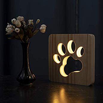 Led Nachtlicht Tier Nachtlicht Holz Geschnitzt Usb Lampe Kreativ Pfotenabdruck Tischlampe Holz Nachtlicht 8d Lampe Hund Pfote In 2020 Tischlampen Nachtlicht Usb Lampe