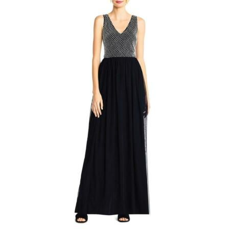 Adrianna Papell Womens Black Mesh Sleeveless Evening Dress Gown 8 BHFO 1536