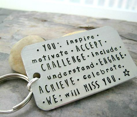 Going Away Gift Keychain, rounded aluminum rectangle, silver split ring, customize this with your own quote, retirement gift, co-worker gift
