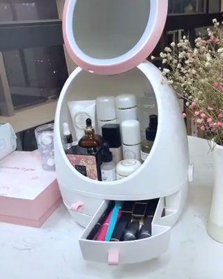 LED HD Espejo de Maquillaje Caja de Almacenamiento de Cosméticos Organizador Caso