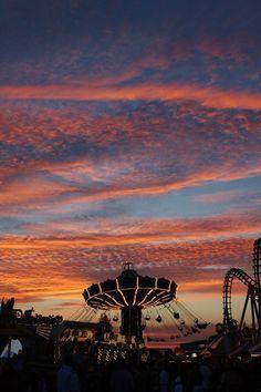 Swing Ride Photography,Sunset, Carousel,Pink and Blue Nursery Decor,Wildwood Beach Boardwalk,Twilight,Carnival Photo,Seaside Amusement Park