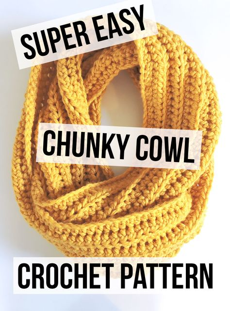 Chunky Crochet Cowl Pattern – Free Pattern by Just Be Crafty Crochet Chunky Cowl Pattern; Beginner Crochet Pattern Best Picture For Crochet stitches. Chunky Crochet Scarf, Crochet Scarves, Crochet Yarn, Crochet Patterns For Scarves, Scarf Patterns, Crotchet, Chunky Infinity Scarf Crochet, Crocheted Scarf, Chunky Knits