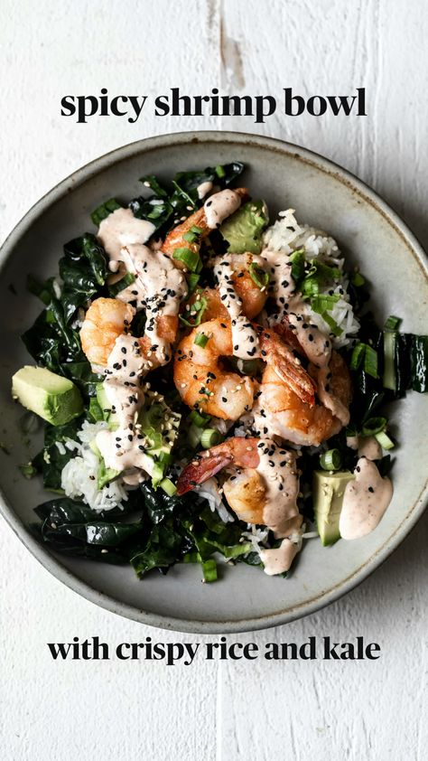 spicy shrimp bowl with crispy rice and kale