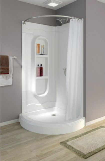 Corner Shower Stalls Kits Walk In One Piece Curtain Rod Bathroom White Curved Ebay With Images Corner Shower Stalls