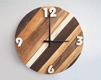 Rustic Wall Clock Large Wall Clock Farmhouse Clock Home Decor Reclaimed Wood Decor Gift Idea Wall Clock Classic Rustic Wood Clocks Industrial Clock Wall