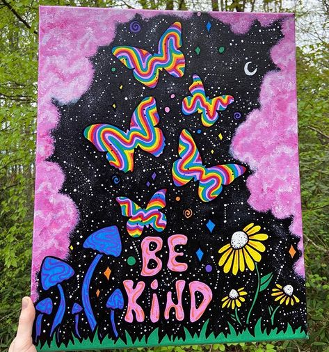 Simple Canvas Paintings, Easy Canvas Art, Small Canvas Art, Mini Canvas Art, Cute Paintings, Diy Canvas, Hippie Painting, Trippy Painting, Diy Painting