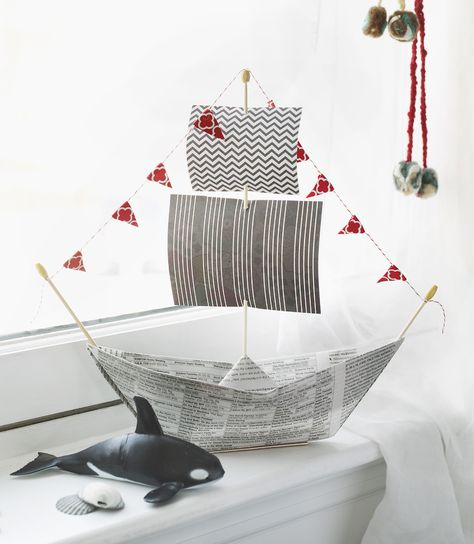 4 Fun Father's Day Gifts That Kids Can Make And Dads Will Love: origami newspaper pirate ship.