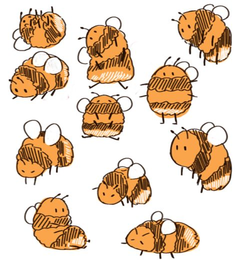 "ethereal-drivel:""Hi I love bees"" Animal Drawings, Cute Drawings, Drawing Sketches, Indie Drawings, Pretty Art, Cute Art, Posca Art, Aesthetic Art, Cartoon Art"