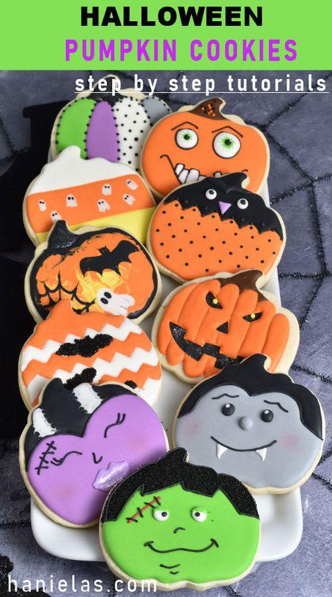 Make fun creative cookies for Halloween with a Pumpkin Cookie Cutter. Step by step Tutorials [VIDEO & step by step picture tutorials] Halloween Pumpkin Cookies, Halloween Treats, Halloween Pumpkins, Halloween Decorations, Decorated Pumpkin Cookies, How To Make Purple, Owl Cookies, Onesie Cookies, Pumpkin Colors