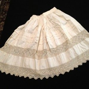 Antique Vintage 1900 Petticoat Skirt with Hand Crocheted lace inserts
